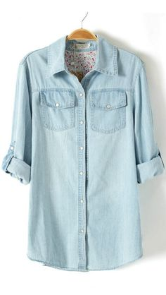 just bought a denim shirt and it is amazing! I love how I can put on my best pair of leggings and flats and rock this look ;)