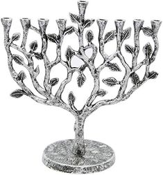 Fits All Standard Chanukah Candles Traditional Star Design with Antique Gold Finish Vintage Aluminum Candle Menorah