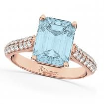 This white gold engagement ring features a large, emerald cut aquamarine center stone with of diamond accents on the band. Rose Gold Band Ring, Pink Diamond Ring, Blue Topaz Diamond, Emerald Cut Diamonds, Best Engagement Rings, Rose Gold Engagement Ring, Diamond Anniversary Rings, White Gold Rings, Jewelry Rings