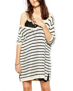 Shop White V Neck Striped Loose Knit Sweater online. SheIn offers White V Neck Striped Loose Knit Sweater & more to fit your fashionable needs. Loose Knit Sweaters, Cool Sweaters, Sweaters For Women, Striped Sweaters, Daily Fashion, Love Fashion, Fashion Outfits, Woman Fashion, Fashion Trends