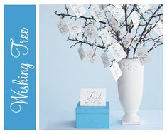Baby Shower Idea: Using branches and a beautiful vase, create a 'wishing tree' where people can leave notes for Mom and baby! #babyshower