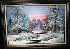 """William Henry Landscape Oil Painting 1930's to 1940's Signed W.Henry 31"""" X 43"""" @ ditwtexas.webstoreplace.com"""