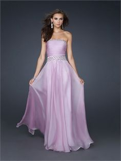Elegant Strapless with Pleated bust and embellished Waistband Chiffon Prom Dress PD10838 www.dresseshouse.co.uk $118.0000