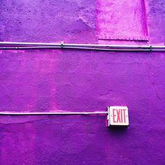 color | purple wall + exit sign, via @amyventures