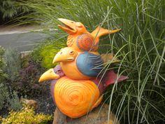 Stacked Birds/Ceramic Sculpture  By LisaLeeSculpture.com