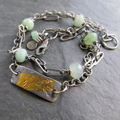 silver Bracelet 23K GOLD Keum Boo pale mint Green by artdi on Etsy