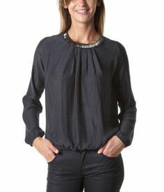 Bluse mit Collier-Kragen dunkles flanell - Promod