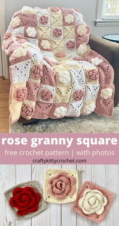 How to Crochet a Rose Granny Square for Afghans, Blankets and More - FREE Pattern! Crochet Squares Afghan, Granny Square Crochet Pattern, Crochet Blocks, Afghan Crochet Patterns, Crochet Motif, Crochet Yarn, Free Crochet, Granny Squares, Crochet Blankets