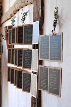 ODE A LA NATURE, plan de table, mariage, wedding, sitting assignment, champêtre, bois, idées mariages, plan de table suspendu, tableau noir