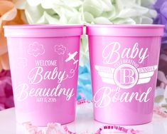 Baby On Board Stadium Cups - Custom designed and printed, personalized 16 oz. plastic stadium cups help you Celebrate Happy even before your event starts. Perfect for your baby shower or event!  - Yippee Daisy    #babyshowerdecor #partycups