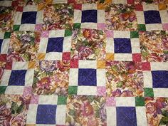 Purple Floral Quilt Green Rose Cranberry Gold by QuiltedPleasures, $140.00
