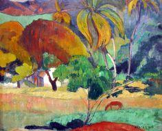 Paul Gauguin - Landscape from Tahiti at Ny Carlsberg Glyptotek Copenhagen   by mbell1975