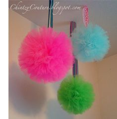 "make pom poms out of tulle instead of tissue paper= they won't fade as quickly and you can just ""shake the dust off"" if used for a long time! :)"