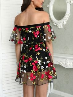 Floral Embroidery Mesh Off Shoulder Mini Dress Sexy Dresses, Cute Dresses, Dress Outfits, Casual Dresses, Cool Outfits, Short Dresses, Casual Outfits, Fashion Dresses, Formal Dresses