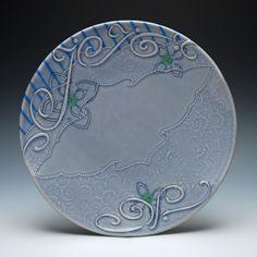 Kristen Kieffer Large plate Periwinkle calligraphic arabesque