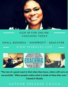 If you are READY to not just talk about what you want to accomplish contact Coach Yolanda@Yesbuilds.com to get started. Over 20 years of experience ( A few Slots Open)  COACHING SESSIONS 1 Time - 6 Months - 12 months www.Yesbuilds.com/shop/ #Entrepreneur #SmallBiz #Nonprofit #SocialEnterprise #BizStartup #Author #Speaker #Coach #Consultant It's time to take #ACTION ~ MOTIVATION INSPIRATION ACTIVATION