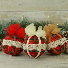 Set of Three Handmade Vintage Style Lace Christmas Tree Decorations in a Red Plaid Fabric Lace Christmas Tree, Unusual Christmas Gifts, Victorian Christmas Ornaments, Tartan Christmas, Hanging Christmas Tree, Handmade Christmas, Vintage Christmas, Xmas Tree, Primitive Christmas