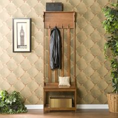 mission oak mini hall tree with bench
