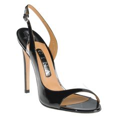 An elegant open toe shoe with sculpted cut out in rich soft black patent leather on a 100mm stiletto heel.