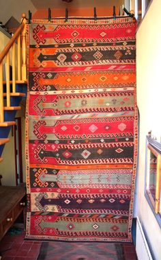 An old nine saf kilim from Sivas in east Anatolia. This unusual type of kilim with an archaic saf design goes back to at least the Tribal Rug, Kilim Rugs, Bohemian Rug, Folk, Prayers, Weaving, Turkey, Antiques, Pattern