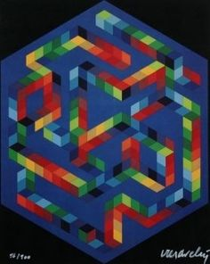Sérigraphie - Victor Vasarely - Labyrinthe multicouleur