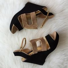 """Black Wedges Leather upper suede wedges, tan and black with gold accent trim. These are very comfy but have not been worn and get no love. Heel is 5"""" with a 1"""" platform, perfect for maxi dresses. Right heel has tiny hairline storage lines that cannot be seen when worn. See pic #3 for reference and feel free to ask any questions prior to buying. ⛔️NO TRADES⛔️ theme Shoes"""