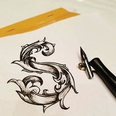 Letter S #gothicletters #obliquepen #obliquepencalligraphy #ink #rhodia #intricate #s