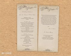 Printable Wedding ceremony program template Vintage paper by Oxee