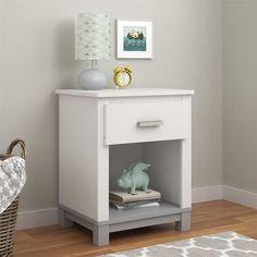 Dorel Home Furnishings Leni White/Light Slate Gray Nightstand, Multi
