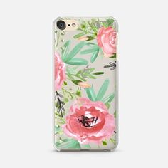 iPod Touch 6 Case Red flowers. Watercolor