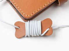 Leather Earphone Holder Earbud Cable by SiroganeLeatherWorks