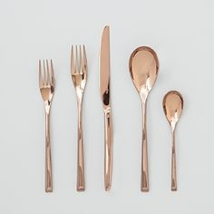 Everything's coming up rose gold in this sleek, stylish flatware collection by kate spade new york. | 18/10 stainless steel | Dishwasher safe | Imported | Setting includes teaspoon, soup spoon, salad
