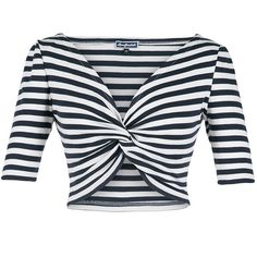 Lena Hoschek     Aye Aye Striped Crop Top ($180) ❤ liked on Polyvore featuring tops, cropped, shirts, stripe, short-sleeve shirt, striped top, stripe crop top, white cotton shirt and white cotton tops