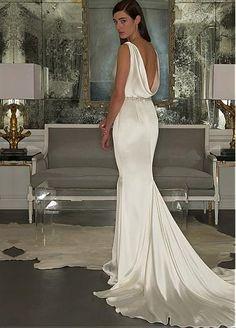 Elegant Stretch Satin Cowl Neckline Sheath Wedding Dress with Beadings & Rhinestones