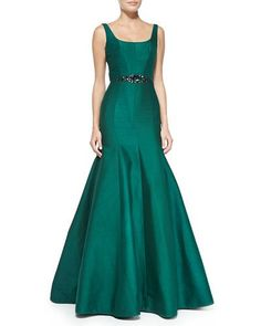 Monique Lhuillier Sleeveless Beaded-Waist Mermaid Gown at Neiman Marcus. Prom Dresses 2015, Women's Evening Dresses, Mermaid Gown, Mermaid Prom Dresses, Monique Lhuillier, Black Tie Attire, Cheap Formal Dresses, Neiman Marcus, Groom Dress