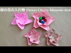 折り紙 桜の花の入れ物(お皿) 折り方(niceno1)Origami Flower Cherry blossoms dish sakura - YouTube