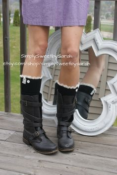 Black Ribbed Boot Sock Leg Warmers with Lace.