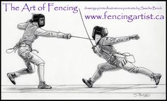 fencing and fencers artwork depicting the sport of fencing by fencingartist ~ www.fencingartist.ca ~ women's foil