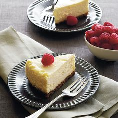 Amaretti Cheesecake | Cheesecake in a slow cooker is a brilliant idea for a heavenly fall dessert. Top with fresh raspberries to complete your sweet treat.