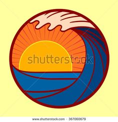 Vector seascape illustration, summer sea with big wave and sun going down at sunset logo in a circle