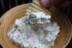 Dill Pickle Dip- 8 oz cream cheese, 1 1/2 c chopped pickles, 1 tsp dill weed, 1/2 tsp kosher salt, pepper, 4 T pickle juice, chopped onion