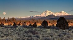 """exploreelsewhere: """"Sister mountains with the full moon setting at sunrise west of Bend, Oregon! [2560x1440] ✈ """""""