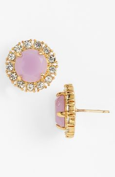Pretty pastel pink Kate Spade stud earrings for spring.
