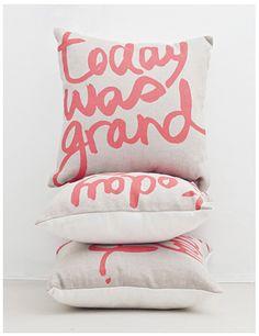 Today Was Grand Cushion | Hand screen-printed on 100% belgian linen | attik72.com