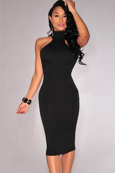 7e05f3c638 Black High Collar Cut Out Back Bodycon Party Dress  Black  Dress  maykool  Clubwear