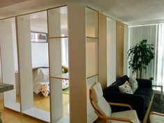 Room built using IKEA Pax - a permanent-temporary solution to add an extra room without adding real walls.