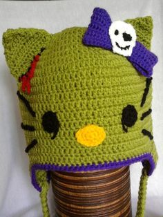 Hello Kitty Zombie hat - Perfect for Halloween, easy to crochet. I've included  instructions for the face details are included in the project description. Happy Crocheting :)