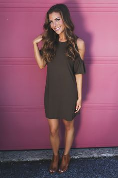 Solid Open Shoulder Tunic- Olive - Dottie Couture Boutique