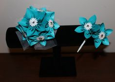 Teal and White Corsage & Boutonniere - Alternative Wedding Flowers - Prom Corsage and Boutonniere. $26.00, via Etsy.  #wedding #paperflowers #etsy #handmade #teal #corsage #boutonniere