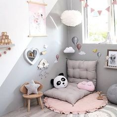 Another truely magical room to start the new week featuring our best selling Stickstay wall stickers and I even spy our Cam Cam balloon musical mobile in Rose. You can shop these online now at the link in our bio. Elephant Plush Pillow, Magical Room, Baby Canopy, Winter Blankets, Cozy Nook, Kids Room Design, Pillow Sale, Little Girl Rooms, Floor Rugs